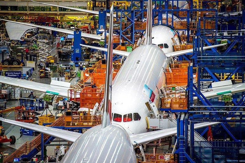 Línea de producción de 787  Dreamliner en Seattle.