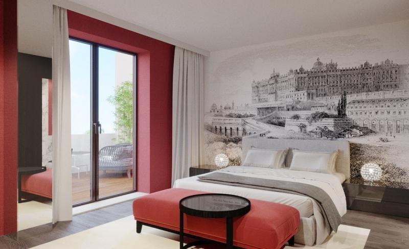 Una de las 28 habitaciones y suites del Pavilion Madrid, donde el arte está siempre presente.