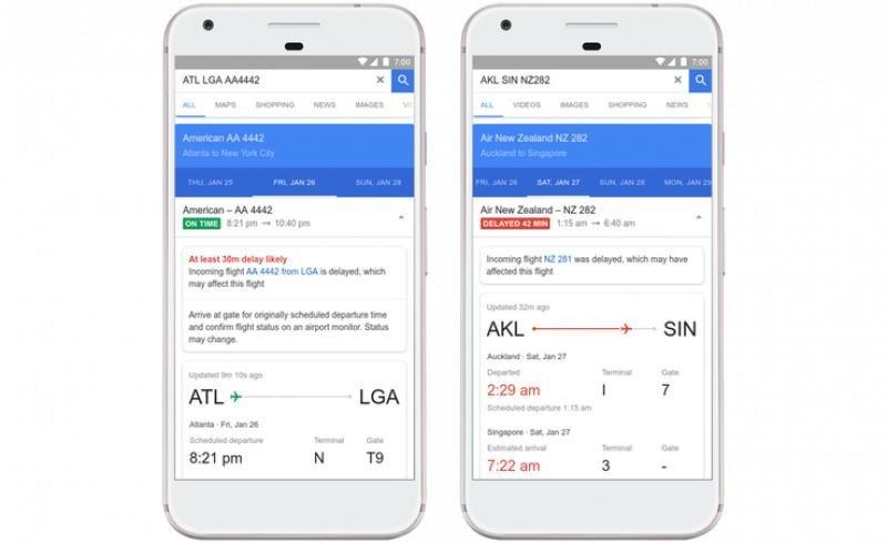 Google ya ofrece esta información de los vuelos de American Airlines, Delta Air Lines y United Airlines en todo el mundo.
