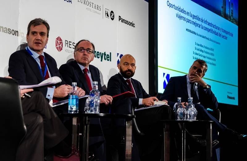 De izq. a dcha, Juan Alfaro, presidente de Renfe; Luis Gallego, CEO de Iberia; Jaime García-Legaz, presidente de Aena; y Adolfo Utor, presidente de Baleària.