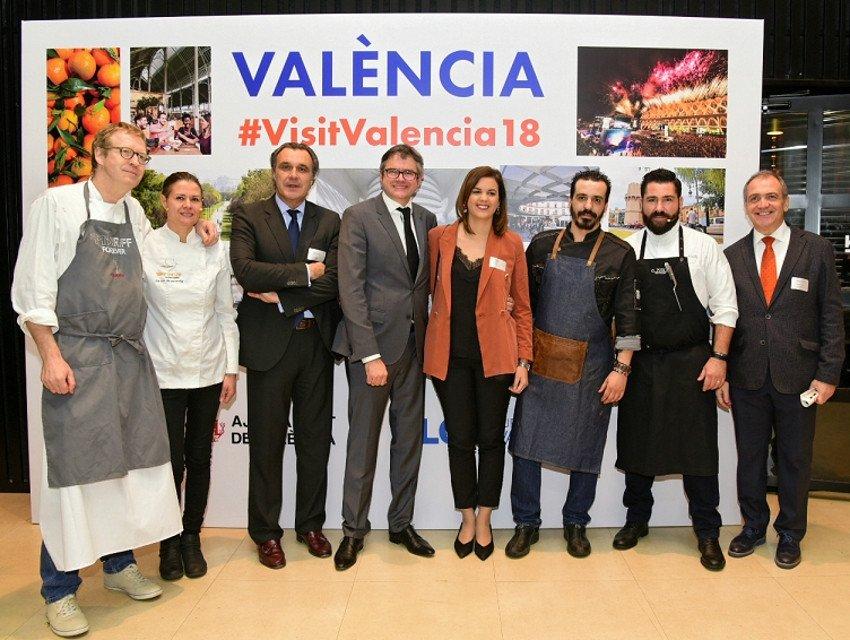 Sandra Gómez y Antonio Bernabé, estuvieron acompañados en la presentación de Madrid –la ciudad española que más visitantes les aporta, el 29% del total nacional-, por el presidente de CEAV, Rafael Gallego, y los  chefs valencianos Bernd Knöler, Luis Valls, Miriam Andrés y Miguel Angel Mayo.