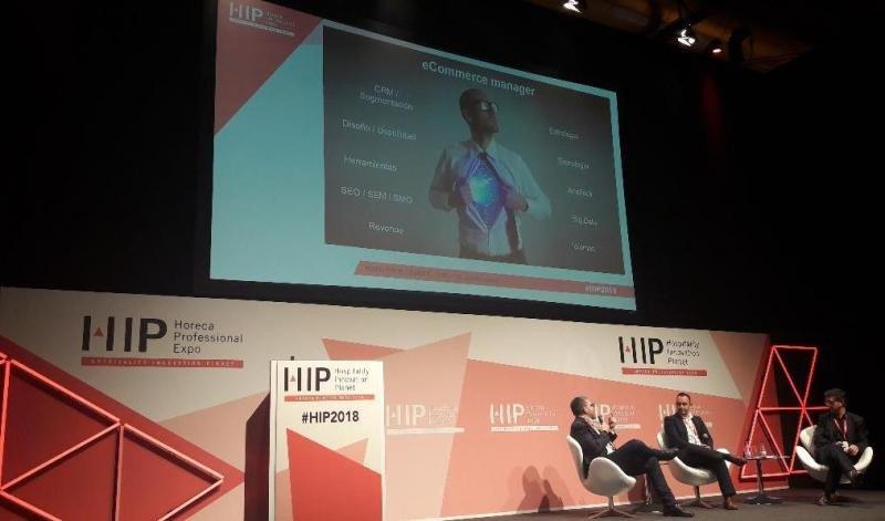 De izq. a dcha, Toni Mascaró, Guille Rodríguez y Enric López, en su intervención en el Hospitality 4.0 Congress, en HIP 2018.