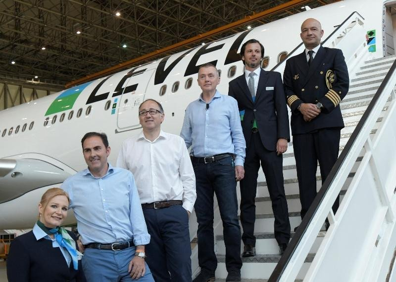 Presentación de la aerolínea Level en junio de 2017, impulsada por las compañías del grupo IAG para competir en el segmento de largo radio de bajo coste