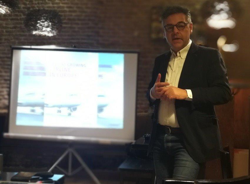 Mathias Burkard, portavoz de Eurowings para España, hoy en Madrid.