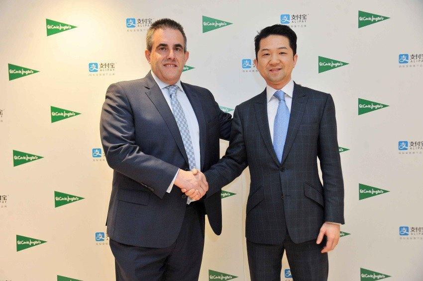 El consejero delegado de El Corte Inglés, Victor del Pozo, y el director de desarrollo de negocio de Alipay en EMEA, Tao Tao.