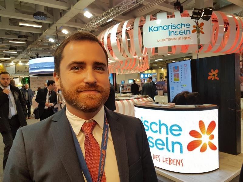 Isaac Castellano, consejero de Turismo de Canarias, este miércoles en la feria ITB de Berlín.