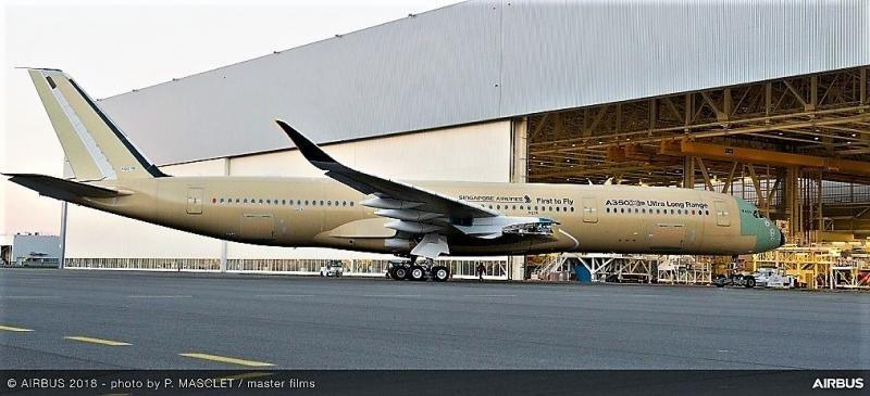 Salida de planta del avión que operará las rutas más largas del mundo (Foto: Airbus/ P. Masclet/ master films).