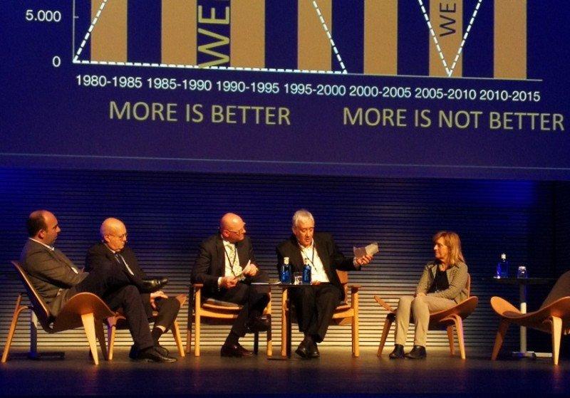 Joan Enric Capellà, Miguel Payeras, Antoni Riera, que moderó la mesa; Xavier Pastor y Sandy Hemingway.
