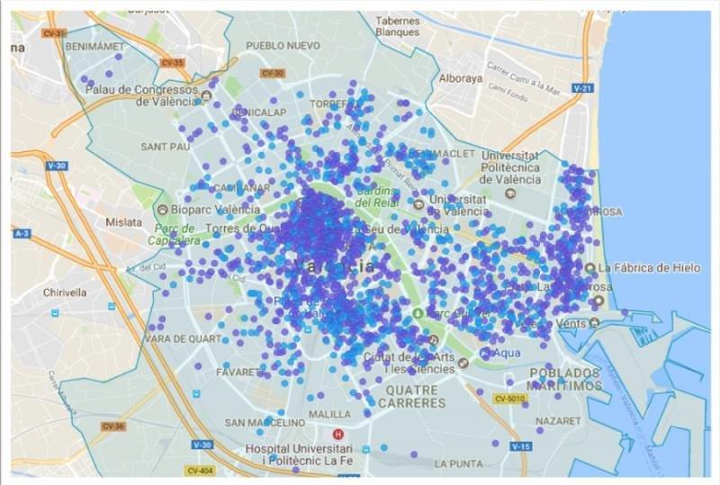Airbnb en cifras: 5.500 pisos en Valencia y más de 45 M € de ingresos