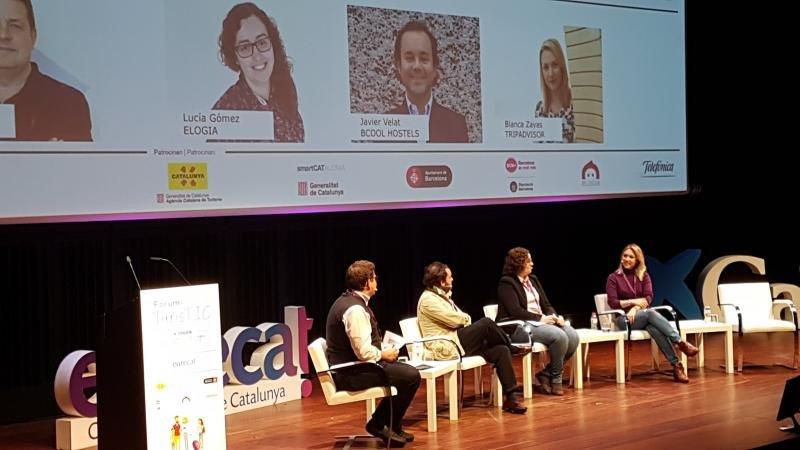 La mesa redonda sobre reputación online, ayer en el congreso TurisTIC en Barcelona.