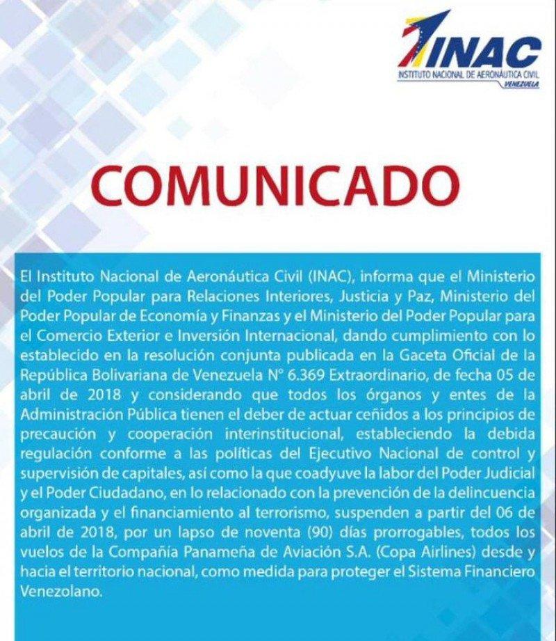 Comunicado de suspensión de COPA Airlines por parte de la Aeronáutica Civil venezolana.