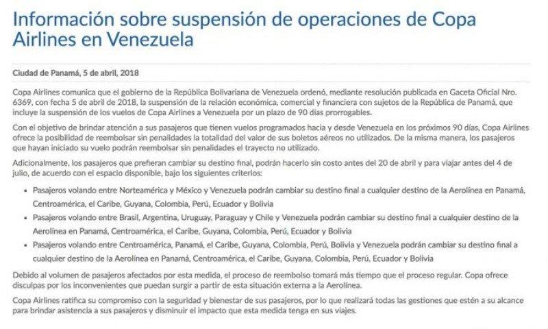 Copa Airlines anuncia reembolsos y cambios de pasajes a Venezuela