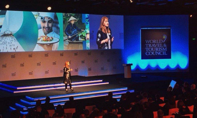 Gloria Guevara Manzo, presidenta del WTTC, en la apertura de la Cumbre este miércoles en Buenos Aires.