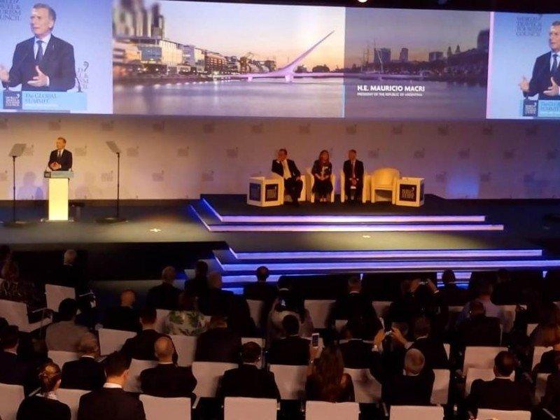 Mauricio Macri en la apertura de la cumbre del WTTC en Buenos Aires.