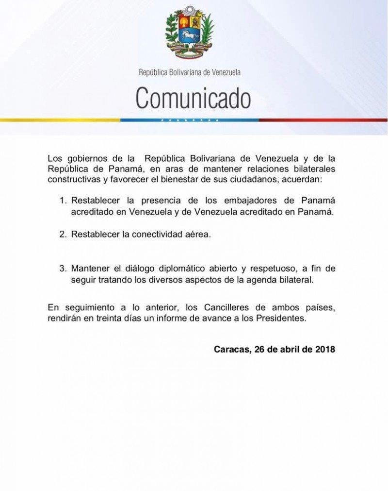 Comunicado conjunto de los gobiernos de Venezuela y Panamá.