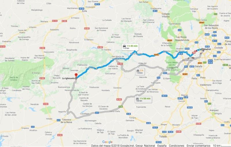 El municipio se encuentra a 110 Km al oeste de Madrid. Imagen: Google Maps.