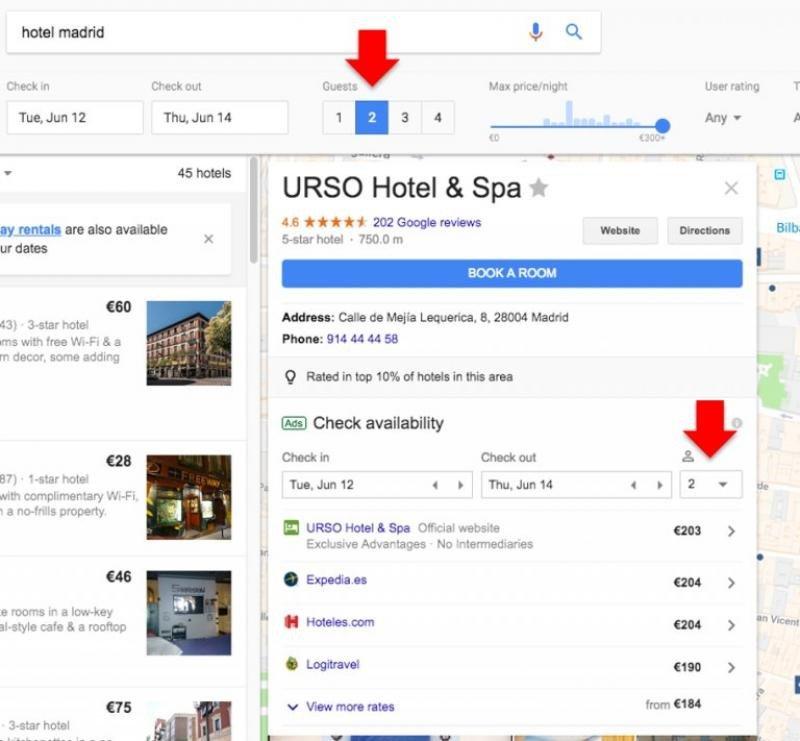 En las búsquedas por hotel Google también ha incorporado el filtro por ocupación. Así se ve ahora, con la tradicional ocupación de dos personas por habitación. Imagen: Mirai.