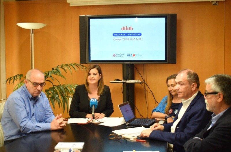 Además de la presidenta de la Fundación Turismo Valencia, Sandra Gómez, y de su director, Antonio Bernabé, a la reunión asistieron Eva Blasco, presidenta de la CEV; Ximo Solà, presidente de Unión Hotelera, y Miguel Jiménez, presidente de AEVAV.