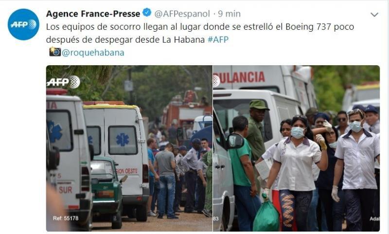 Equipos de socorro llegando al lugar del siniestro, según informa AFP.