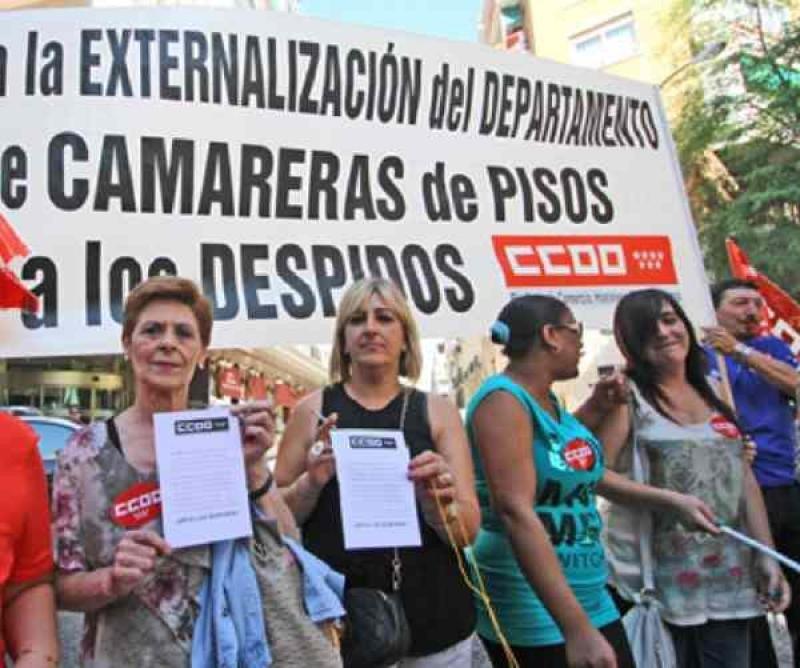 Imagen de una protesta realizada por las camareras de pisos. Foto: CCOO