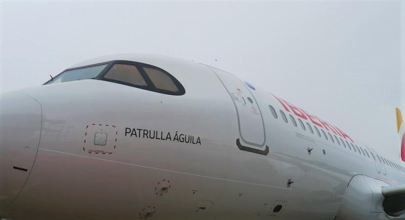 El primer A320neo de Iberia es bautizado 'Patrulla Águila' (Foto: Iberia).