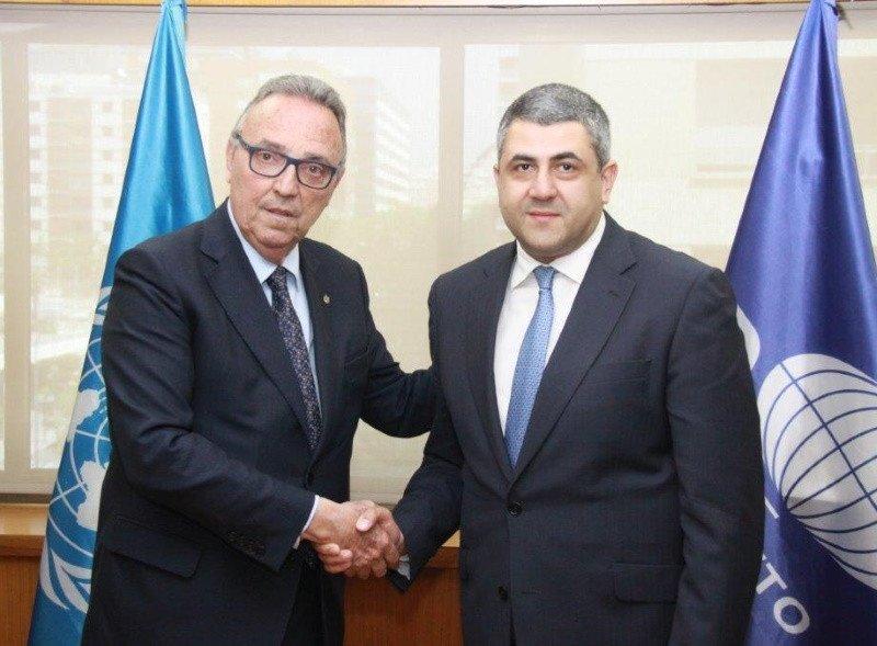 Joan Gaspart junto al secretario general de la OMT, Zurab Pololikashvili.