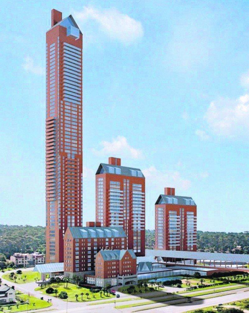 Una imagen del proyecto presentado con su torre de 300 metros frente a la Playa Brava de Punta del Este.