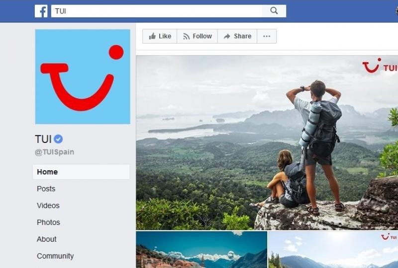 En esta página oficial de TUI puede verse el pequeño check azul al que aluden los portavoces para identificar una página verificada.