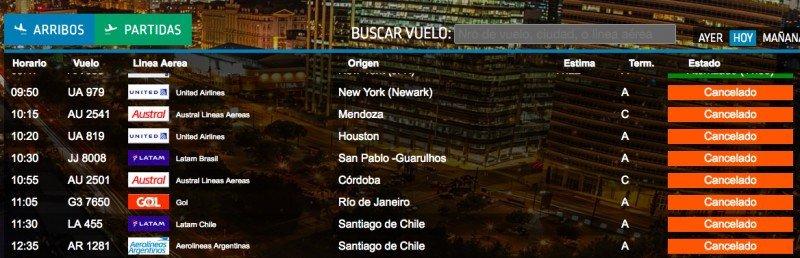 Cerca de 600 vuelos cancelados por el paro general en Argentina