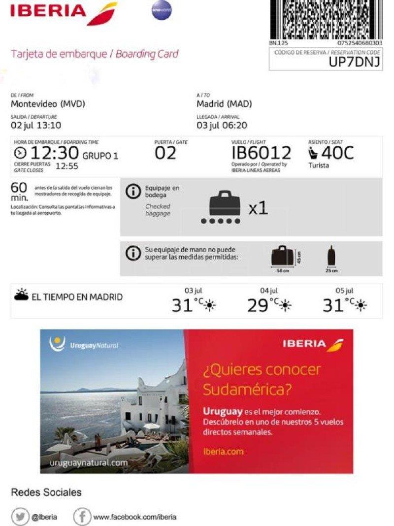 Uruguay en las tarjetas de embarque de todos los pasajeros de Iberia