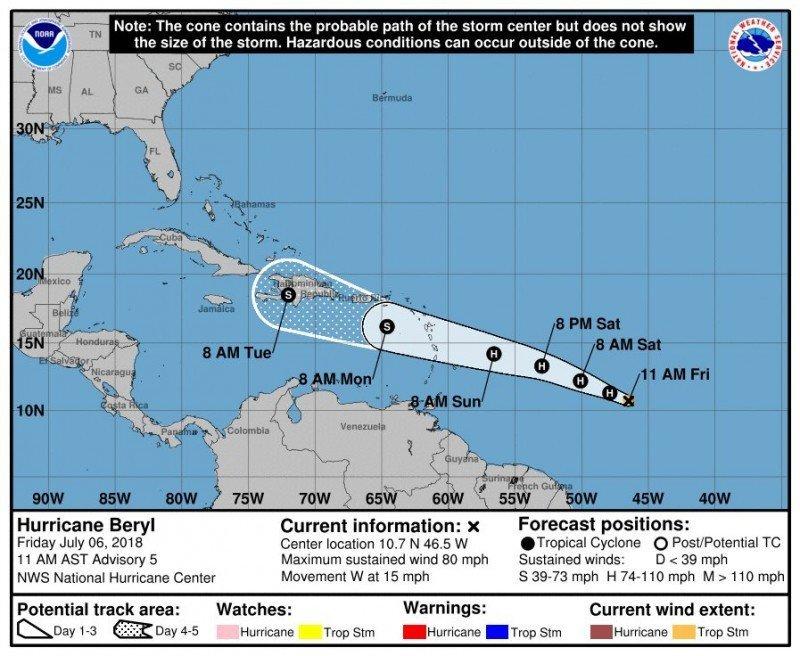 Puerto Rico ya se prepara para Beryl, el primer huracán de 2018 en el Caribe