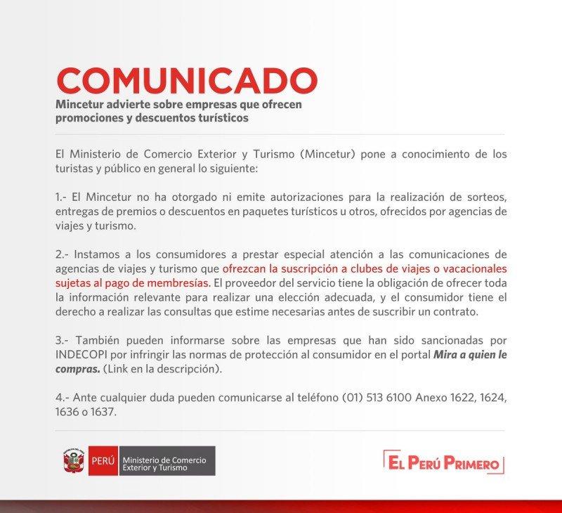 Perú advierte sobre falsas promociones y sorteos de viajes