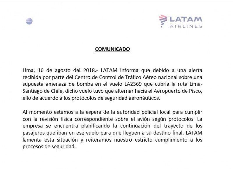 Amenaza de bomba desvía vuelo Lima/Santiago de LATAM