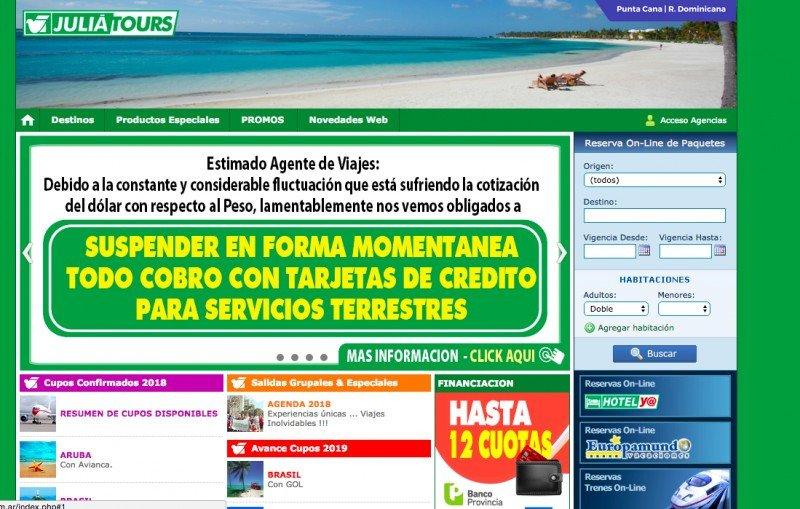 Argentina: por fluctuación del dólar Julia Tours suspende las tarjeta de crédito