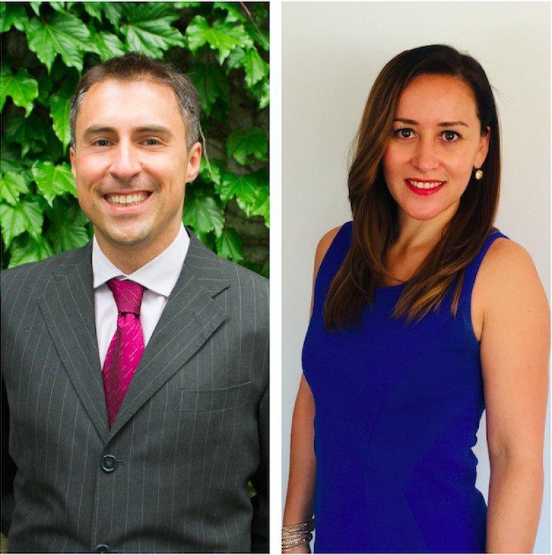 De izq a dcha: Gerardo Ribeiro (country manager para Argentina) y Alfrida Farías (country manager para Chile)