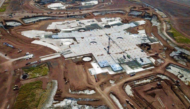 Estado del avance de obra en el Nuevo Aeropuerto de Ciudad de México, que acaba de ser cancelado. Foto: Televisa