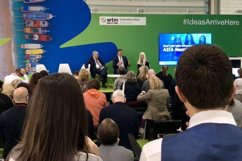 Zane Kerby y directivos de ASTA en la presentación de la Sociedad Americana de Agentes de Viajes en Londres. Foto: @WTM_London