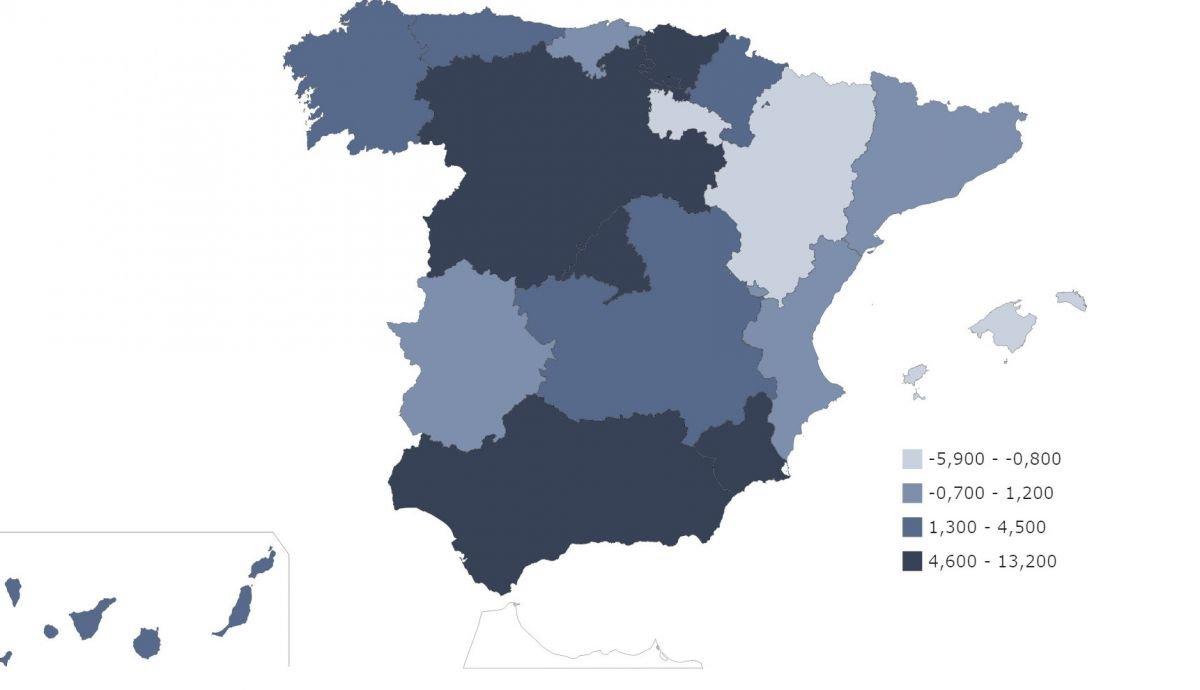 Variación porcentual de los precios de los hoteles en octubre por comunidades autónomas, según el INE.