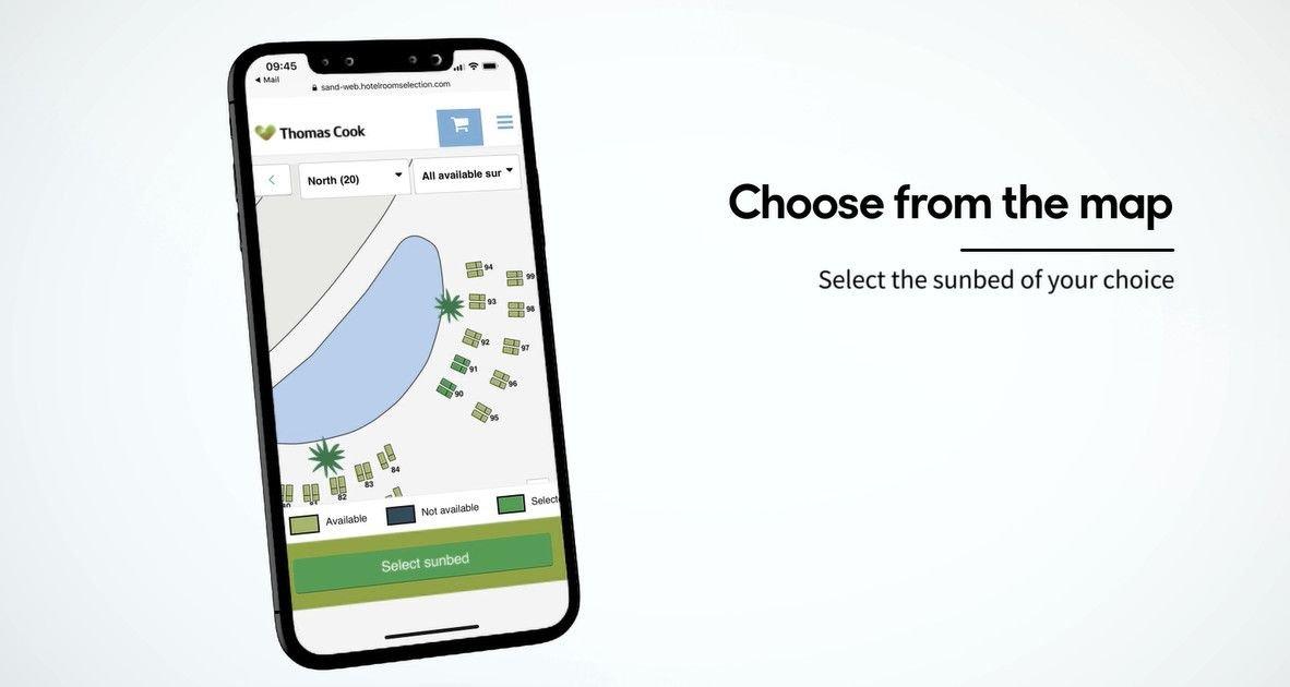 Los turistas seleccionan en la web o la app de Thomas Cook la hamaca deseada varios días antes de viajar a su destino de vacaciones.