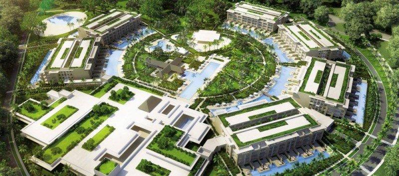 El resort cuenta con 288 habitaciones distribuidas de forma circular.