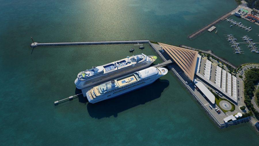 Render del proyecto del puerto junto a Ciudad de Panamá y la entrada al canal