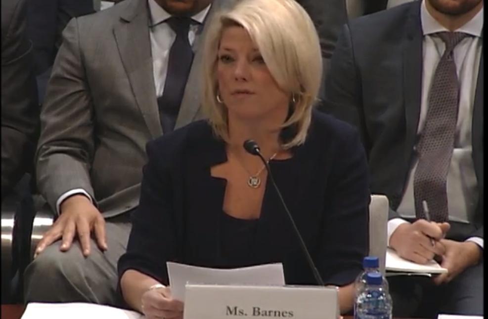 Vicepresidenta ejecutiva de asuntos públicos de US Travel, Tori Barnes, en el Congreso de EEUU. Foto: US Travel