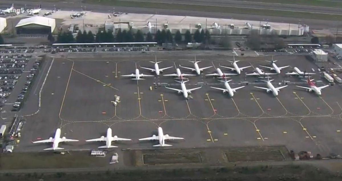 Aviones Boeing 737 MAX en la pista de la compañía en Renton, Seattle