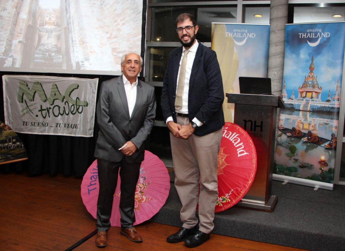 Sergio Bañales de Mac Travel y Leonardo Puglieses, de la Oficina de Turismo de Tailandia