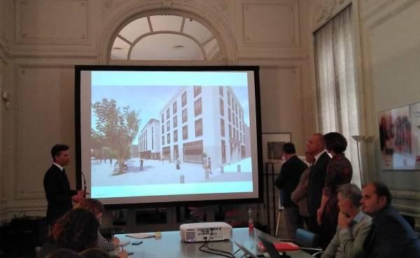Presentación, el pasado mes de mayo, del hotel Radisson que construirá Millenium en Sevilla.