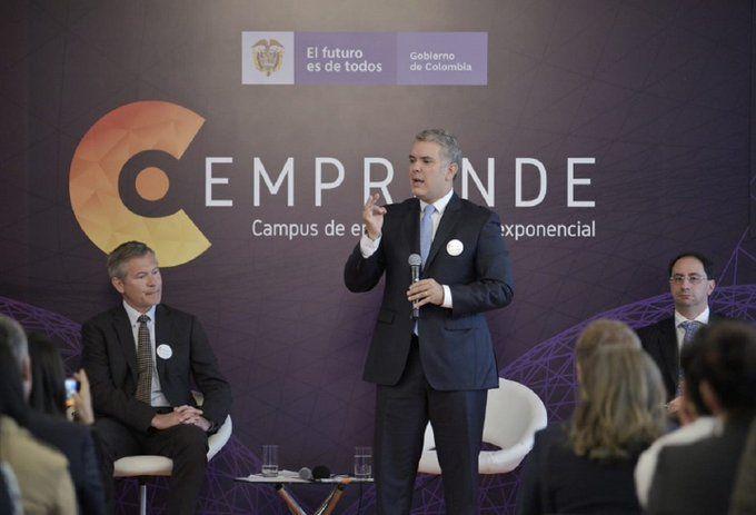 El presidente colombiano Iván Duque en la presentación de C Emprende
