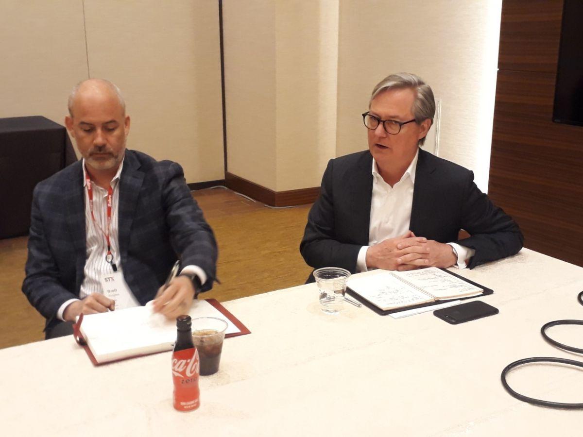 Brett y Wade Jones en rueda de prensa durante el Sabre Technology Exchange 2019 de Las Vegas