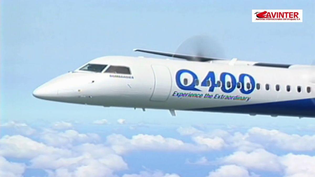 Un video con el logo de Avinter que muestra aviones Bombardier Q 400 fue subido a YouTube en marzo