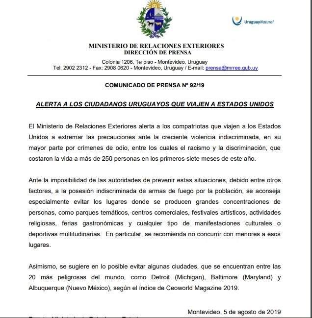 Comunicado de la Cancillería de Uruguay de este lunes 5