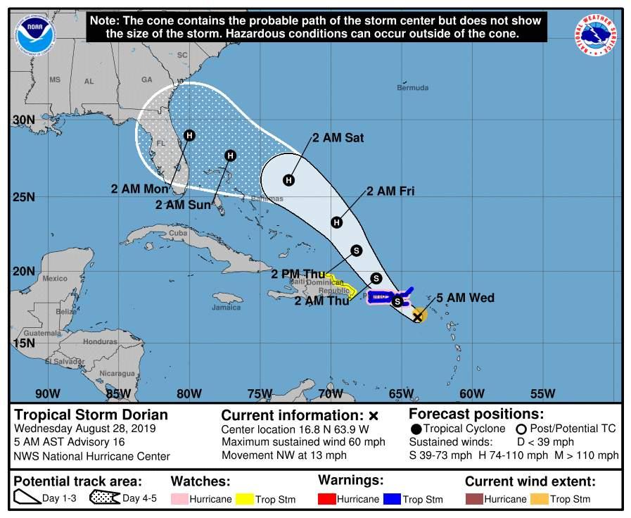 Previsión del Centro Nacional de Huracanes a las 5 de la mañana de este miércoles